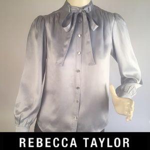 Rebecca Taylor Lt. Blue Silk Blouse w/Bow